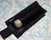 Chap stick Holder, Lip Balm key chain, chap stick case, lip stick, Lipbalm case cozy- Black Faux Leather
