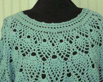 Lacy Pullover Crochet Aqua Lite Teal