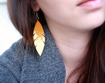 Metallic Dipped Leather Feather Earrings - Goldenrod Suede and Gold with 14k Gold-Fill