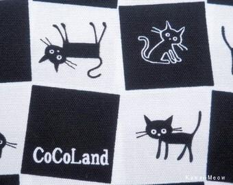 "Scrap / CoCoLand Fabric - Check Cats on Black - Half Yard : 110cm/43""W x 45cm/17.7""L - (no140127)"