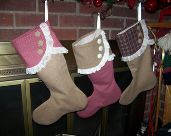 Burlap Wool Christmas Stocking Burgundy and Hunter Geen Plaid with Burlap colored Wool Stockings