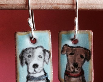 Brown and grey dog portrait earrings