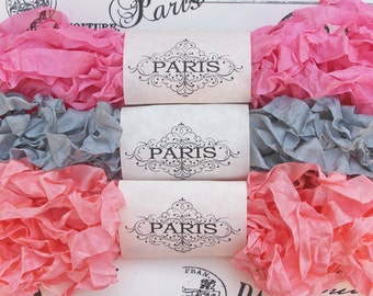 Seam Binding Ribbon, Shabby Crinkled,Pink, Silver, Candy Pink. Rayon Ribbon,French Vintage,Scrapbook, Doll Making,Crazy Quilting,Abbey Manor