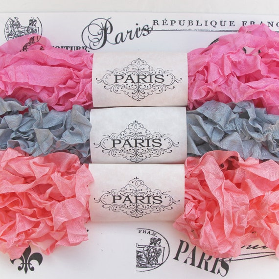 Shabby Crinkled Seam Binding Ribbon, Pink, Silver, Candy Pink. Rayon Ribbon,French Vintage,Scrapbook, Doll Making,Crazy Quilting,Abbey Manor