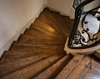 Paris Photography, Wooden Staircase Honey, Paris apartment stairs, architecture, brown, Paris Decor, Classic Paris, French Wall Art