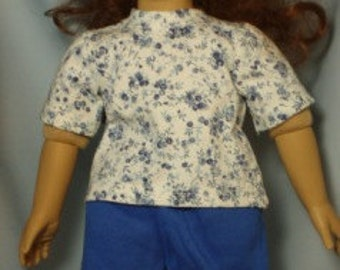 """Handmade Blue Shorts and Blue and White print Tee Shirt set for 18-19"""" dolls including American Girl dolls.  (A wire hanger is included)"""