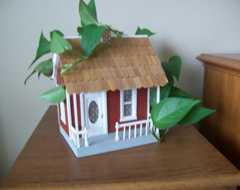 "Miniature small scale Cottage for Fairy Garden, Lamp base or similar display. Measuring  7"" x 6 1/4"" x 8 3/4"" plus chimney"