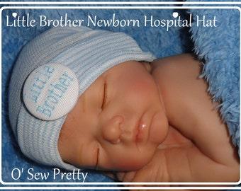Little Brother Infant Hospital Hat, Monogrammed baby hats, Little brother Newborn hat, Baby boy shower gift, blue newborn hat, baby boy gift