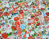 Vintage Christmas Dennison Die Cut Seals    Labels Stickers   Santa Angels Bells Poinsettias Carolers Snowman   30 pcs