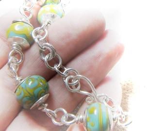 Tide Pool Bracelet - Chunky Sterling Silver and Artisan Lampwork Beads - Handmade