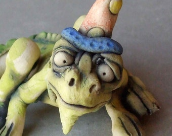 Iguana in a Party Hat Whimsical Ceramic Sculpture