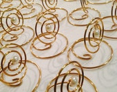 Place card Holder  Pearl and Swirls Silver or Gold  Photo Holders Menu Cards Table Numbers Markers Wedding
