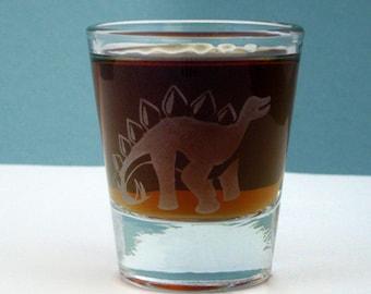 Stegosaurus Dinosaur | Etched Shot Glass | Whiskey Shot | Science Gift | Dinosaur Birthday