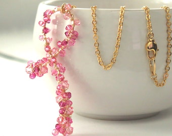 Breast Cancer Pink Ribbon Necklace . Luxe Swarovski Encrusted Gold Necklace . Breast Cancer Awareness Survivor