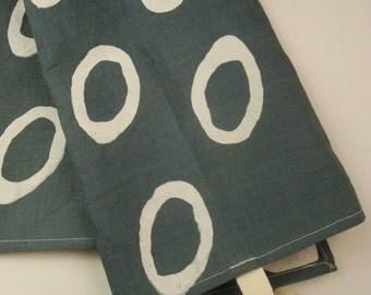 Grey Dish Towel, Kitchen Towel, Modern Housewarming Gift, Hemp Towel, Modern Tea Towel, Dragon Eyes