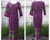 60s 70s barkcloth caftan with bell 3/4 sleeve, kimono style, psychedelic floral, paisley, ethnic, hippie, boho, tunic, maxi, dress.