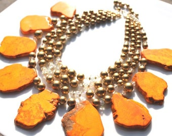 Orange Turquoise and 1950s Vintage Japan Gold Pearl Handmade Necklace