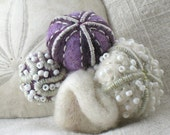 Reserved for Kelly Felt sea urchin embroidered brooch purple white