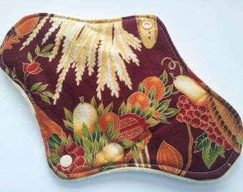 One 10 Inch Minky Topped Winged Cloth Menstrual Pad - Guilded Harvest - Fleece Inside Barrier