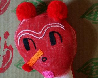 handmade embroidered OOAK art doll こんにちは hello BEAST Japanese fiber art toy