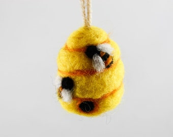 Felted Beehive Ornament (Yellow Wool)