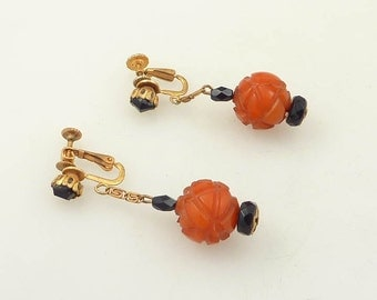 SALE --- Vintage Miriam Haskell Signed Carved Amber Glass Dangling Earring