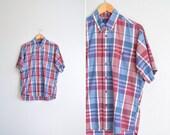 5 DOLLAR SALE! // Size L // PLAID Button-Up Shirt // Berry Colors - Short Sleeve Oxford - Vintage '90s.