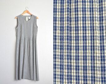 SALE / vintage '90s navy blue, tan PINTUCKED & CHECKERED sleeveless maxi dress. size s m.