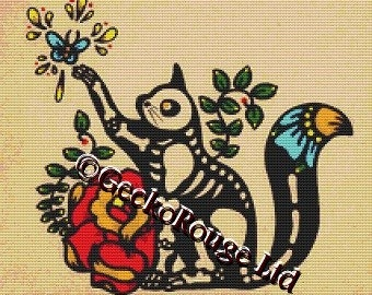 Modern Cross Stitch Kit 'Skeleton Cat' by Illustrated Ink - Day of the Dead Cross Stitch Cat