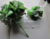 Vintage Fabric Flower Bouquet  * Sailor Green