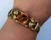 Vintage Hinged Gold Copper Bangle Bracelet
