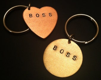 Like a Boss, Boss Gift, HBIC, CEO, Stamped Heart Keychain, Copper Heart Key Ring,Womens Keychain, Boss Bitch, Bad Ass, Mens Keychain, Unisex