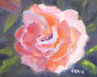 Rose, 5x4 Original Oil Daily Painting, Pink Rose on Black