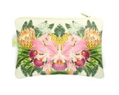 Leather Clutch Bag / Zip Bag / Handbag / Purse - Tropical bloom