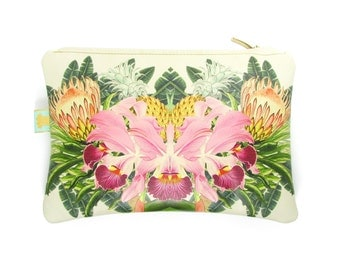 Leather Clutch Bag / Zip Bag / Handbag / Purse - Tropical bloom