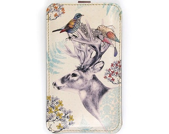 Leather iPhone 6 Case/ iPhone 5s Case/ iPhone 5 Case/ Smartphone case - Stag and Birds
