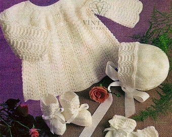 INSTANT DOWNLOAD under a dollar-babys lace hat coat bootie set vintage knitting pattern-pdf email delivery