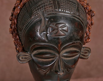 African Chokwe Female Mask Braided Coiffure from Congo DRC