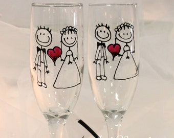 Bride and Groom Wedding toasting flutes in a stick figure design -  Set of 2. FREE personalization, hand painted and dishwasher safe