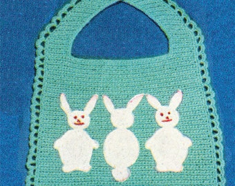 Vintage Bunny Bib Crochet Pattern Large Print B123