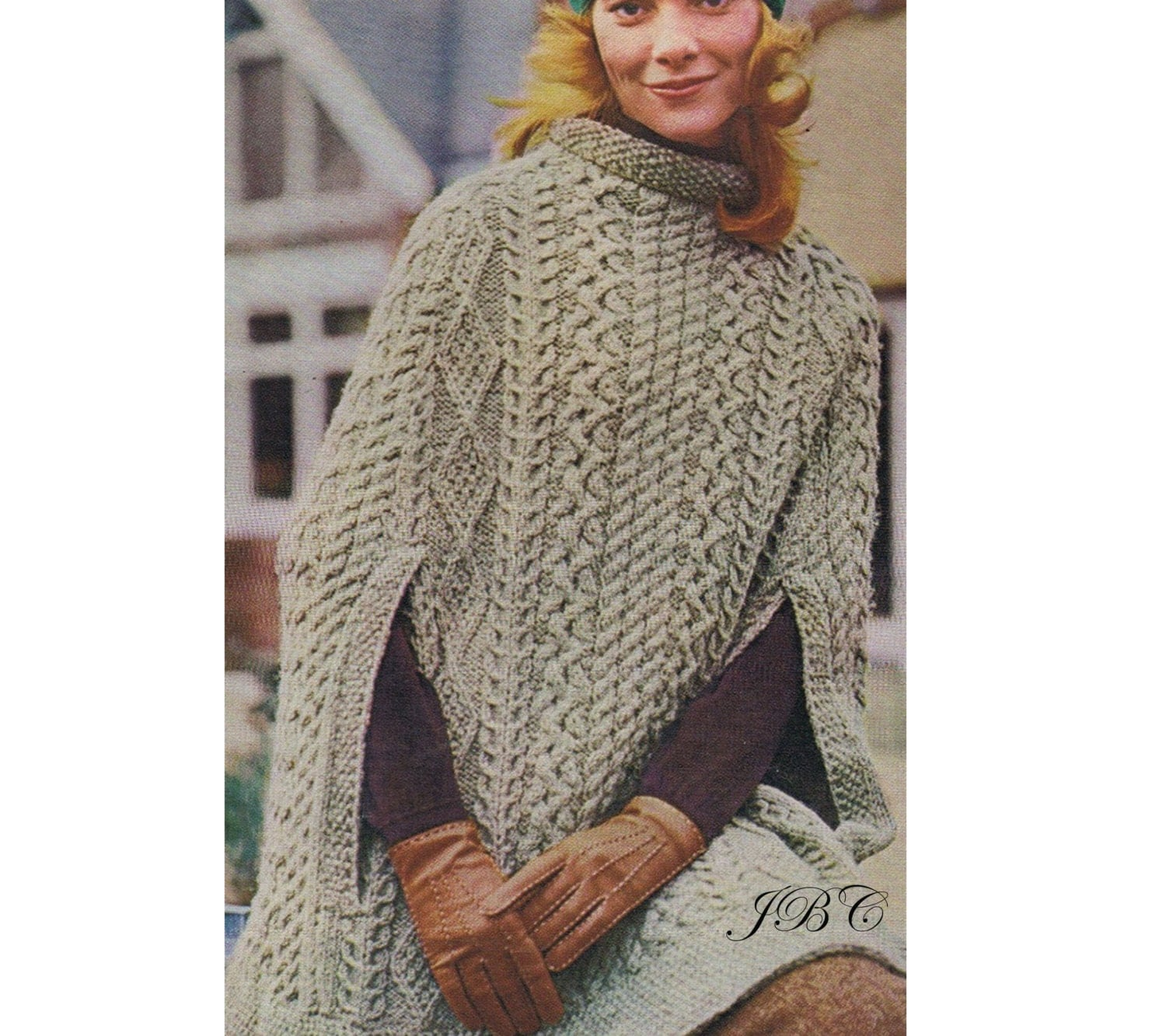 Traditional Aran Knitting Patterns : Aran Cape Pattern Poncho Knitting Pattern Irish Cape Knee