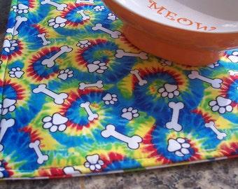 Pet Feeding Mat, Tie Dye Magic Mat, Dog Mat, Reversible Dog Placemat, Pet Placemat, Puppy Mat, Groovy Pet Mat, Cloth Placemat, Fabric Mat