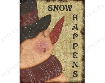 Printable Snowman  Folk Art Print Instant Download 8 1/2 X 11