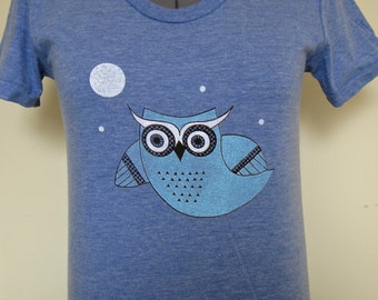 Flying Owl Shirt Women Fitted Style Vintage Blue Sizes Small through XLarge