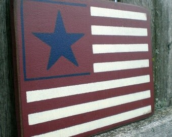 Primitive Americana Wood Sign- Mini Patriotic American Flag Military