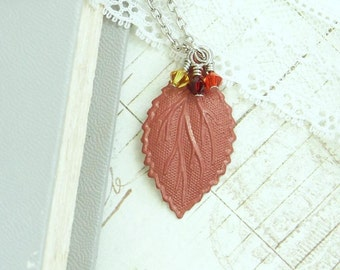 Brown Leaf Necklace Clearance Jewelry Autumn Necklace Fall Necklace Clearance Sale Leaf Jewelry