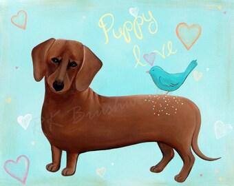 Kids Wall Art, Nursery Art Print for Baby Nursery Decor, Children Wall Art - Puppy Love 8x10 - childrens art, dog, dachshund, kids room