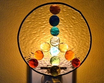 Rainbow Peace Sign Stained Glass Nightlight