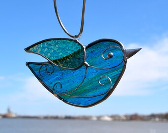 Blue Green Songbird Stained Glass Suncatcher  bird suncatcher