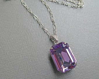 Art Deco Necklace - Great Gatsby Inspired - Lavender Crystal Necklace - Prom Jewelry - Spring Necklace - WINDSOR Lavender